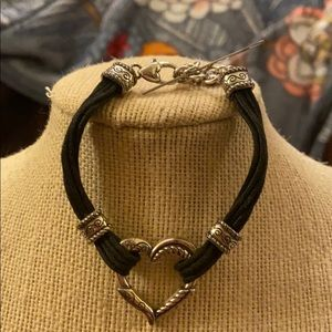 Brighton Leather & Silver Heart Bracelet